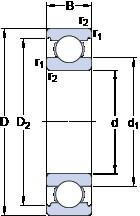 160 mm x 240 mm x 38 mm  SKF 6032 радиальные шарикоподшипники