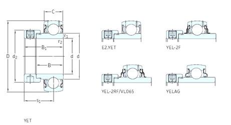 31.75 mm x 72 mm x 37,6 mm  SKF YEL207-104-2F радиальные шарикоподшипники