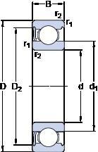 65 mm x 140 mm x 33 mm  SKF 6313-RS1 радиальные шарикоподшипники