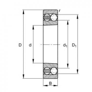 20 mm x 47 mm x 14 mm  FAG 1204-K-TVH-C3 самоустанавливающиеся шарикоподшипники