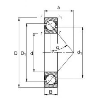 40 mm x 90 mm x 23 mm  FAG 7308-B-JP радиально-упорные шарикоподшипники