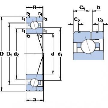 80 mm x 125 mm x 22 mm  SKF 7016 CE/HCP4AL радиально-упорные шарикоподшипники