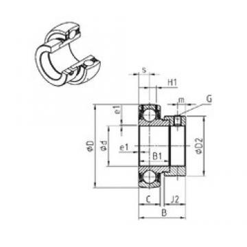 40 mm x 80 mm x 43,7 mm  SNR ES208G2 радиальные шарикоподшипники